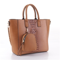 Simple & Classy Brown Faux Leather & Faux Alligator Skin Backpack Coin Purse Satchel Shoulder Tote Handbag Set