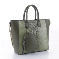 Simple & Classy Green Faux Leather & Faux Alligator Skin Backpack Coin Purse Satchel Shoulder Tote Handbag Set