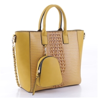 Simple & Classy Mustard Faux Leather & Faux Alligator Skin Backpack Coin Purse Satchel Shoulder Tote Handbag Set
