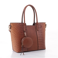 Simple & Classy Brown Faux Leather & Faux Alligator Skin Round Coin Purse Satchel Shoulder Tote Handbag Set