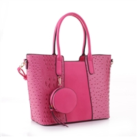 Simple & Classy Fuchsia Faux Leather & Faux Alligator Skin Round Coin Purse Satchel Shoulder Tote Handbag Set