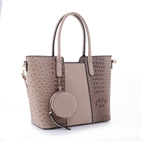 Simple & Classy Taupe Faux Leather & Faux Alligator Skin Round Coin Purse Satchel Shoulder Tote Handbag Set