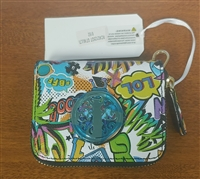 Uniquely Stylish Colorful 90's Graffiti Print Pocket Zip Wallet