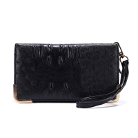 Trendy & Chic Black Faux Alligator Skin Clutch Wristlet