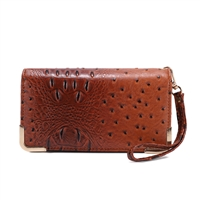 Trendy & Chic Brown Faux Alligator Skin Clutch Wristlet