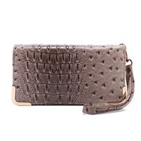 Trendy & Chic Stone Faux Alligator Skin Clutch Wristlet