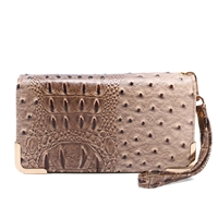 Trendy & Chic Taupe Faux Alligator Skin Clutch Wristlet