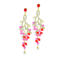 Gorgeous Sparkling Red, Pink & Clear Crystals Ribbon Gold Toned Stud Dangle Earrings