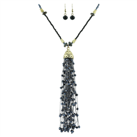 Stylish & Elegant Blue Gray Crystal Beaded Tassel Gold Necklace Set