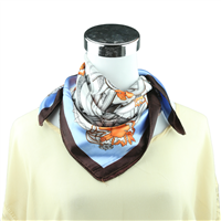 Light Blue & Brown Fleur-de-lis Printed Silk Neckerchief