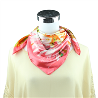 Colorful Watercolor Flower Printed Silk Pink Neckerchief
