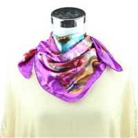 Colorful Watercolor Flower Printed Silk Purple Neckerchief