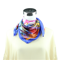 Colorful Watercolor Flower Printed Silk Royal Blue Neckerchief