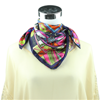 Colorful Collage Printed Silk Navy Neckerchief