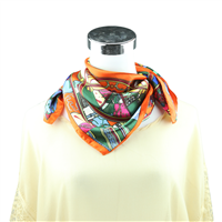 Colorful Collage Printed Silk Orange Neckerchief