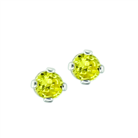 November Birth Stone Sparkling Yellow Crystal Stud Earrings