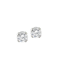 April Birth Stone Sparkling Clear Crystal Stud Earrings