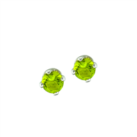 August Birth Stone Sparkling Light Green Crystal Stud Earrings