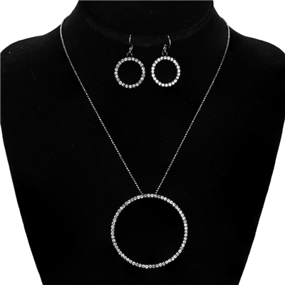 CRYSTAL CIRCLE NECKLACE SET | LARGE