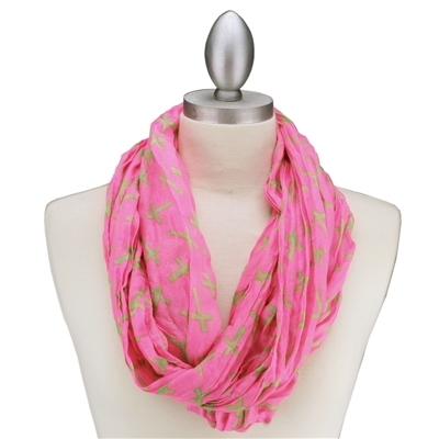 Pink & Green Cross Printed Pattern Infinity Scarf
