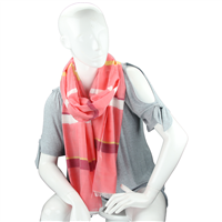 Fashionable Stylish Multi-Colored Striped Bar Coral Fringed Scarf