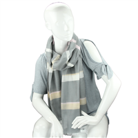 Fashionable Stylish Multi-Colored Striped Bar Smokey Gray Fringed Scarf