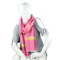 Fashionable Stylish Multi-Colored Striped Bar Pink Fringed Scarf