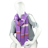 Fashionable Stylish Multi-Colored Striped Bar Purple Fringed Scarf