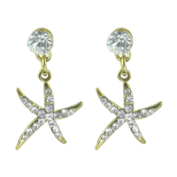 Shimmering Crystal Clear Thin Gold Starfish Stud Earrings