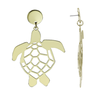 Stylish Lively Gold-Toned Turtle Statement Stud Dangle Earrings