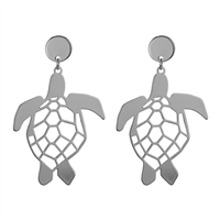 Stylish Lively Silver-Toned Turtle Statement Stud Dangle Earrings