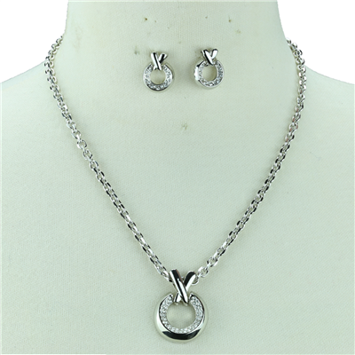CRYSTAL X & O NECKLACE SET