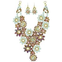 Spring Fling Red Floral Iridescent Crystal Colorful Beaded Gold Toned Fish Hook Necklace Set