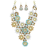 Spring Fling Turquoise Floral Iridescent Crystal Colorful Beaded Gold Toned Fish Hook Necklace Set