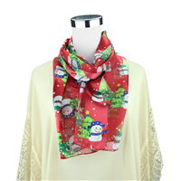 Snowy & Festive Snowman & Christmas Tree Print Pattern Red Silk Scarf