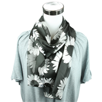 Black & White Sunflower Print Scarf