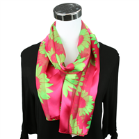 Pink & Green Sunflower Print Scarf