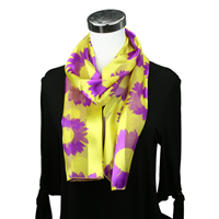 Yellow & Purple Sunflower Print Scarf