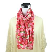 Pretty Pink & Red Strawberry Print White Silk Scarf