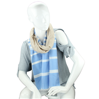 Fashionable Stylish Two-Tone Light Blue & Beige White Striped Fringed Scarf