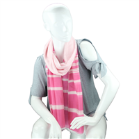 Fashionable Stylish Two-Tone Pink & Light Pink White Striped Fringed Scarf