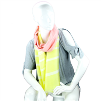 Fashionable Stylish Two-Tone Yellow & Light Pink White Striped Fringed Scarf