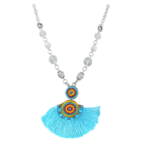 Turquoise Colored Tassel Colorful Crystals & Beads & Clear Crystal Beaded Silver Necklace