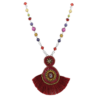Burgundy Colored Tassel Colorful Crystals & Beads & Colorful Crystal Beaded Silver Necklace