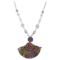 Multi-Colored Tassel Clear Crystals & Clear Crystal Beaded Silver Necklace