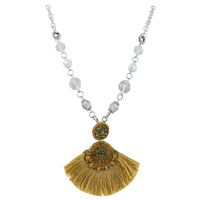 Gold Colored Tassel Clear Crystals & Clear Crystal Beaded Silver Necklace