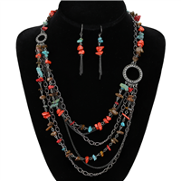 STONE DROP NECKLACE SET