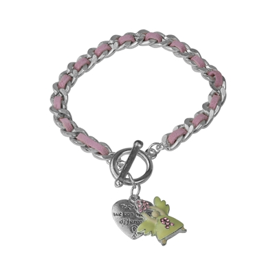 BREAST CANCER ANGEL CHARM BRACELET
