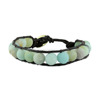 MULTI GREEN STONE BEAD WRAP BRACELET