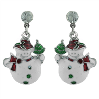 THE CRYSTAL SNOWMAN POST EARRINGS